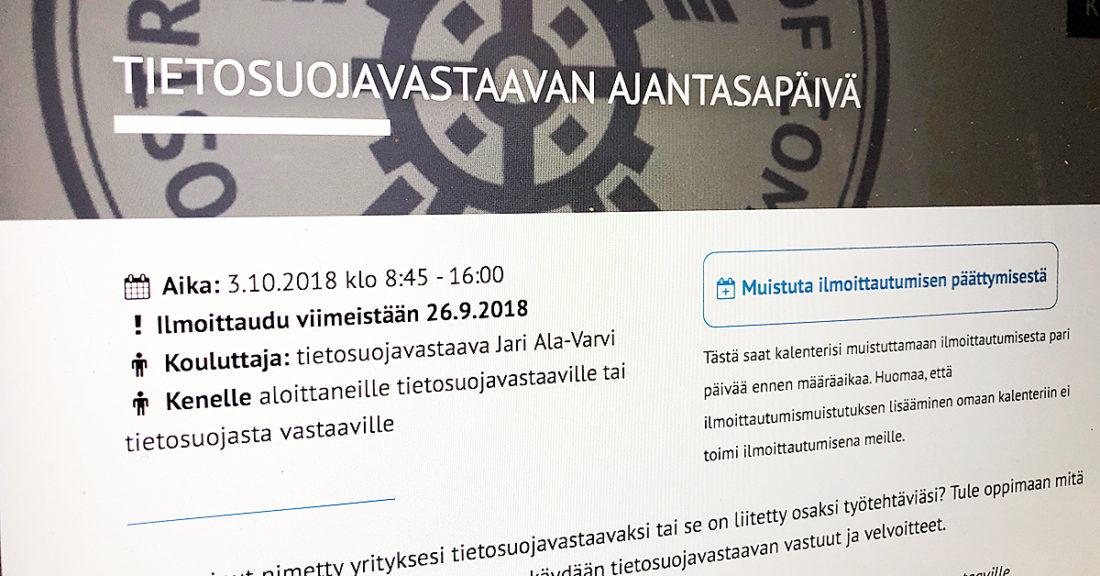 Etelä-Pohjanmaan Kauppakamari ja Opsec Oy järjestävät ke 3.10.2018 klo 9-16 koulutuspäivän organisaatioiden tietosuojasta vastaaville.